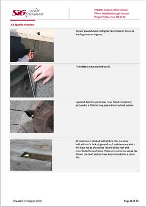 School Flat Roof Survey - Photographs