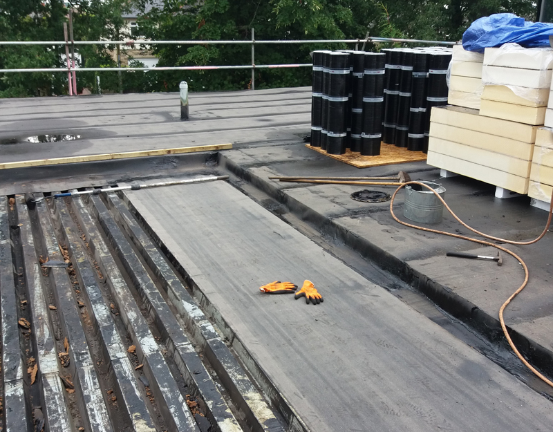 new roof membrane during installation showing night seal
