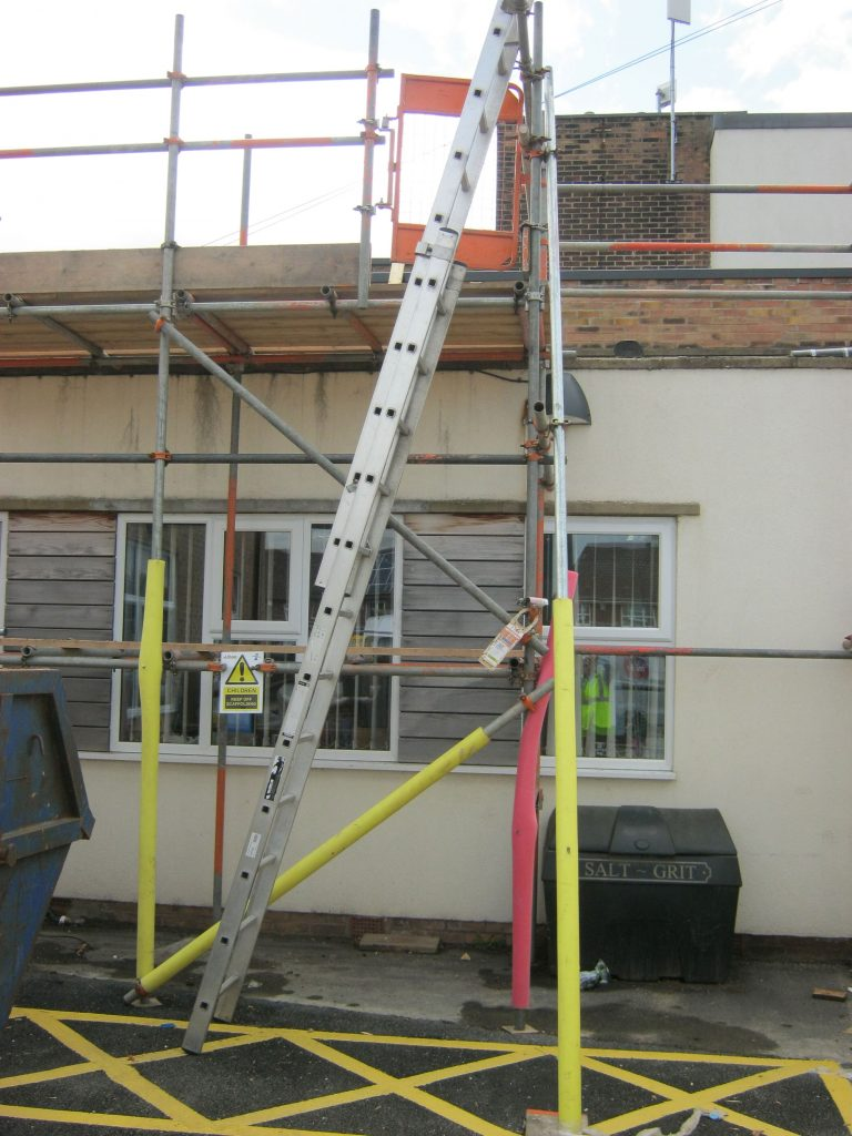 reroofing a school building during term time - ladder secuirity