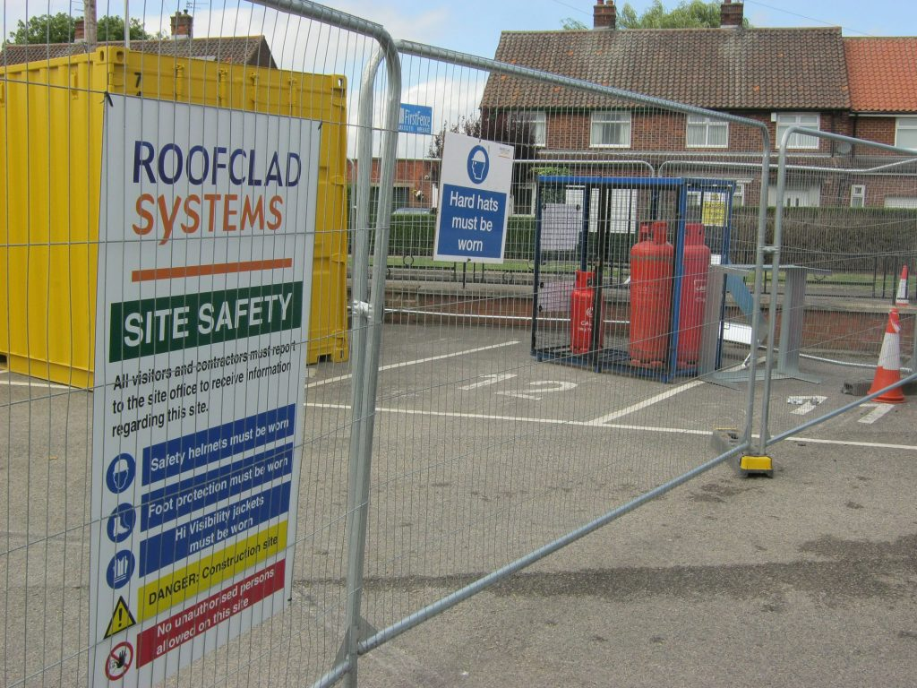 reroofing a school building during term time - security