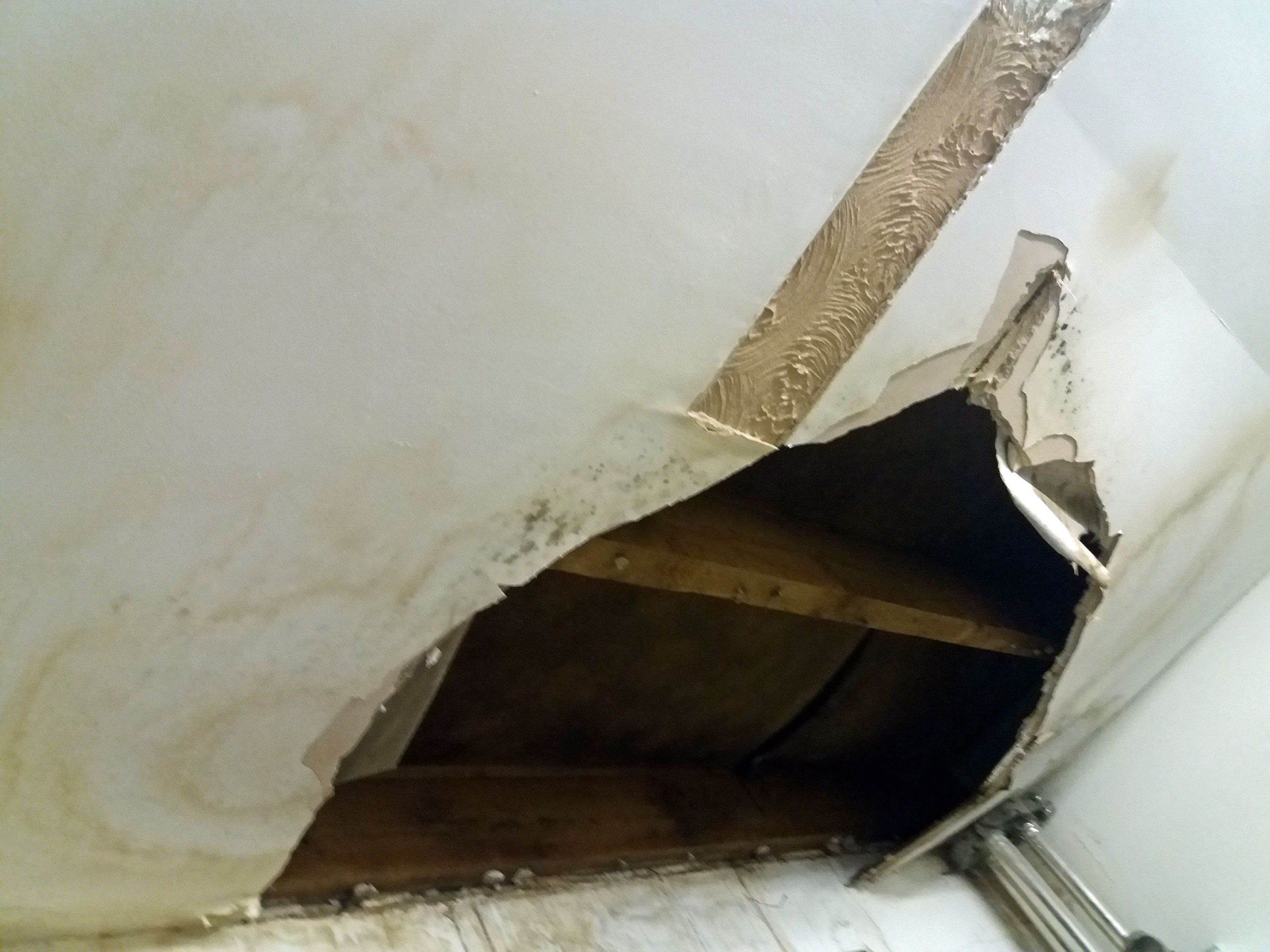 stained ceiling failed roof leak school