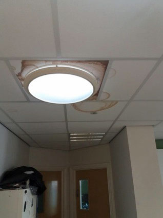stained ceiling tiles interstitial condensation roof leak school lighting